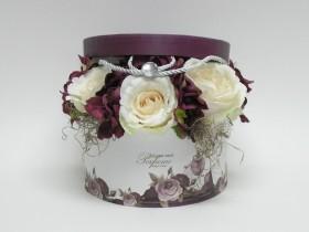 Papierová krabica+ruža,hortenzia