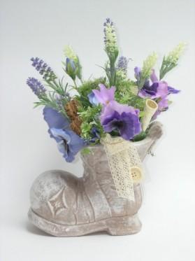 Jarná topánka levanduľa+sirôtka 20x35 cm