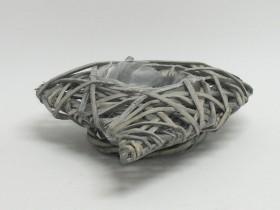 Črepník z prútia srdce sivé 28x20x5 cm