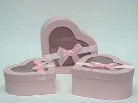 Flower box 3 set ružové srdcia