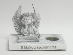 Anjel s knihou na drev. podstavci
