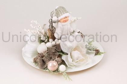 Vianočná tácka okr. + chlapček 33x22 cm