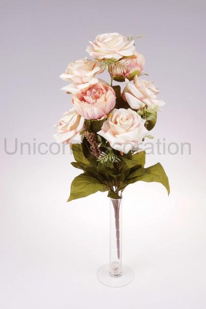 Kytica ruža + peónia, plochá