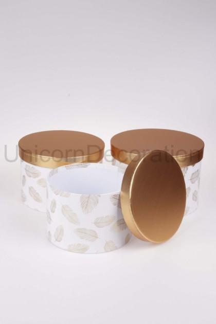 Flower box 3set bielo-zlatý